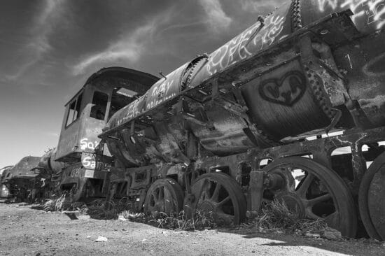 Güterzug-Friedhof vor den Toren der Stadt Uyuni